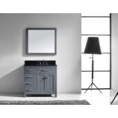 Caroline Parkway 36'' Single Bathroom Vanity Set with Left Side Drawers in Grey, Black Galaxy Granite Top with Square Sink, Brushed Nickel Faucet, Mirror Included