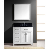 Caroline Parkway 36'' Single Bathroom Vanity Set with Left Side Drawers in White, Black Galaxy Granite Top with Square Sink, Brushed Nickel Faucet, Mirror Included