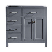 Caroline Parkway 36'' Single Bathroom Vanity with Left Side Drawers, Grey, Cabinet Only, 35-1/5'' W x 21-7/10'' D x 33-1/2'' H