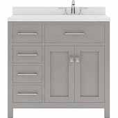 Caroline Parkway 36'' Single Bathroom Vanity Set with Left Side Drawers in Cashmere Grey, Dazzle White Quartz Top with Round Sink