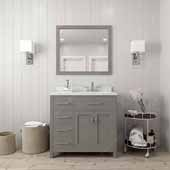 Caroline Parkway 36'' Single Bathroom Vanity Set with Left Side Drawers in Cashmere Grey, Dazzle White Quartz Top with Round Sink, Polished Chrome Faucet, Mirror Included