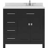 Caroline Parkway 36'' Single Bathroom Vanity Set with Left Side Drawers in Espresso, Dazzle White Quartz Top with Round Sink