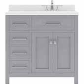 Caroline Parkway 36'' Single Bathroom Vanity Set with Left Side Drawers in Grey, Dazzle White Quartz Top with Round Sink