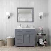 Caroline Parkway 36'' Single Bathroom Vanity Set with Left Side Drawers in Grey, Dazzle White Quartz Top with Round Sink, Mirror Included