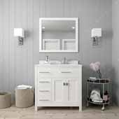 Caroline Parkway 36'' Single Bathroom Vanity Set with Left Side Drawers in White, Dazzle White Quartz Top with Round Sink, Polished Chrome Faucet, Mirror Included