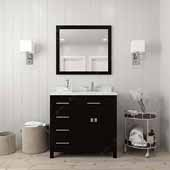 Caroline Parkway 36'' Single Bathroom Vanity Set with Left Side Drawers in Espresso, Dazzle White Quartz Top with Square Sink, Polished Chrome Faucet, Mirror Included