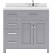 Caroline Parkway 36'' Single Bathroom Vanity Set with Left Side Drawers in Grey, Dazzle White Quartz Top with Square Sink