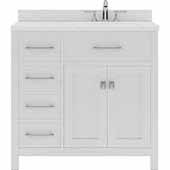 Caroline Parkway 36'' Single Bathroom Vanity Set with Left Side Drawers in White, Dazzle White Quartz Top with Square Sink