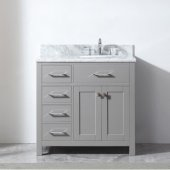 Caroline Parkway 36'' Single Bathroom Vanity Set with Left Side Drawers in Cashmere Grey, Italian Carrara White Marble Top with Round Sink