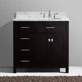 Caroline Parkway 36'' Single Bathroom Vanity Set with Left Side Drawers in Espresso, Italian Carrara White Marble Top with Round Sink