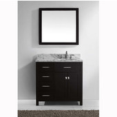 Caroline Parkway 36'' Single Bathroom Vanity Set with Left Side Drawers in Espresso, Italian Carrara White Marble Top with Square Sink, Available with Optional Faucet, Mirror Included