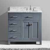 Caroline Parkway 36'' Single Bathroom Vanity Set with Left Side Drawers in Grey, Italian Carrara White Marble Top with Round Sink
