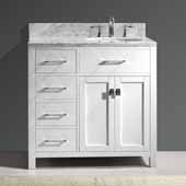 Caroline Parkway 36'' Single Bathroom Vanity Set with Left Side Drawers in White, Italian Carrara White Marble Top with Round Sink