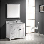 Caroline Parkway 36'' Single Bathroom Vanity Set with Left Side Drawers in White, Italian Carrara White Marble Top with Round Sink, Available with Optional Faucet, Mirror Included