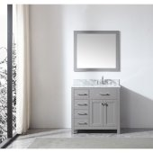 Caroline Parkway 36'' Single Bathroom Vanity Set with Left Side Drawers in Cashmere Grey, Italian Carrara White Marble Top with Square Sink, Mirror Included