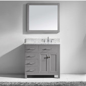 Caroline Parkway 36'' Single Bathroom Vanity Set with Left Side Drawers in Cashmere Grey, Italian Carrara White Marble Top with Square Sink, Brushed Nickel Faucet, Mirror Included