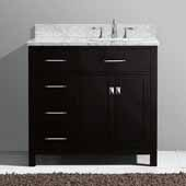 Caroline Parkway 36'' Single Bathroom Vanity Set with Left Side Drawers in Espresso, Italian Carrara White Marble Top with Square Sink