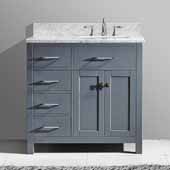 Caroline Parkway 36'' Single Bathroom Vanity Set with Left Side Drawers in Grey, Italian Carrara White Marble Top with Square Sink