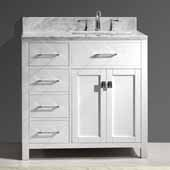 Caroline Parkway 36'' Single Bathroom Vanity Set with Left Side Drawers in White, Italian Carrara White Marble Top with Square Sink