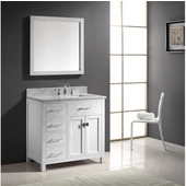 Caroline Parkway 36'' Single Bathroom Vanity Set with Left Side Drawers in White, Italian Carrara White Marble Top with Square Sink, Polished Chrome Faucet, Mirror Included