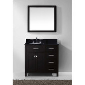 Caroline Parkway 36'' Single Bathroom Vanity Set with Right Side Drawers in Espresso, Black Galaxy Granite Top with Round Sink, Polished Chrome Faucet, Mirror Included