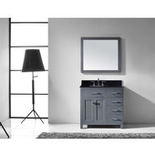 Caroline Parkway 36'' Single Bathroom Vanity Set with Right Side Drawers in Grey, Black Galaxy Granite Top with Round Sink, Mirror Included