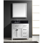Caroline Parkway 36'' Single Bathroom Vanity Set with Right Side Drawers in White, Black Galaxy Granite Top with Round Sink, Mirror Included