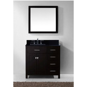 Caroline Parkway 36'' Single Bathroom Vanity Set with Right Side Drawers in Espresso, Black Galaxy Granite Top with Square Sink, Polished Chrome Faucet, Mirror Included