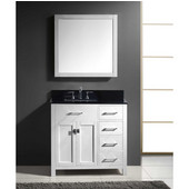 Caroline Parkway 36'' Single Bathroom Vanity Set with Right Side Drawers in White, Black Galaxy Granite Top with Square Sink, Mirror Included