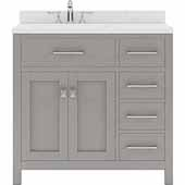 Caroline Parkway 36'' Single Bathroom Vanity Set with Right Side Drawers in Cashmere Grey, Dazzle White Quartz Top with Round Sink