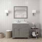 Caroline Parkway 36'' Single Bathroom Vanity Set with Right Side Drawers in Cashmere Grey, Dazzle White Quartz Top with Round Sink, Polished Chrome Faucet, Mirror Included