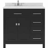 Caroline Parkway 36'' Single Bathroom Vanity Set with Right Side Drawers in Espresso, Dazzle White Quartz Top with Round Sink