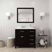 Caroline Parkway 36'' Single Bathroom Vanity Set with Right Side Drawers in Espresso, Dazzle White Quartz Top with Round Sink, Polished Chrome Faucet, Mirror Included