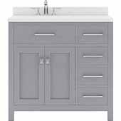 Caroline Parkway 36'' Single Bathroom Vanity Set with Right Side Drawers in Grey, Dazzle White Quartz Top with Round Sink
