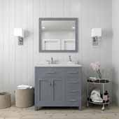 Caroline Parkway 36'' Single Bathroom Vanity Set with Right Side Drawers in Grey, Dazzle White Quartz Top with Round Sink, Polished Chrome Faucet, Mirror Included