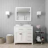 Caroline Parkway 36'' Single Bathroom Vanity Set with Right Side Drawers in White, Dazzle White Quartz Top with Round Sink, Polished Chrome Faucet, Mirror Included