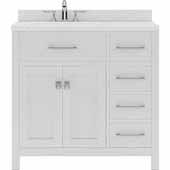 Caroline Parkway 36'' Single Bathroom Vanity Set with Right Side Drawers in White, Dazzle White Quartz Top with Square Sink