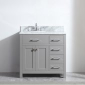 Caroline Parkway 36'' Single Bathroom Vanity Set with Right Side Drawers in Cashmere Grey, Italian Carrara White Marble Top with Round Sink