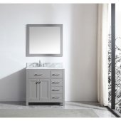 Caroline Parkway 36'' Single Bathroom Vanity Set with Right Side Drawers in Cashmere Grey, Italian Carrara White Marble Top with Round Sink, Brushed Nickel Faucet, Mirror Included