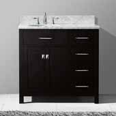 Caroline Parkway 36'' Single Bathroom Vanity Set with Right Side Drawers in Espresso, Italian Carrara White Marble Top with Round Sink