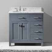 Caroline Parkway 36'' Single Bathroom Vanity Set with Right Side Drawers in Grey, Italian Carrara White Marble Top with Round Sink