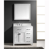 Caroline Parkway 36'' Single Bathroom Vanity Set with Right Side Drawers in White, Italian Carrara White Marble Top with Round Sink, Available with Optional Faucet, Mirror Included
