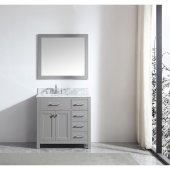 Caroline Parkway 36'' Single Bathroom Vanity Set with Right Side Drawers in Cashmere Grey, Italian Carrara White Marble Top with Square Sink, Brushed Nickel Faucet, Mirror Included
