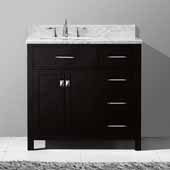 Caroline Parkway 36'' Single Bathroom Vanity Set with Right Side Drawers in Espresso, Italian Carrara White Marble Top with Square Sink