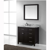 Caroline Parkway 36'' Single Bathroom Vanity Set with Right Side Drawers in Grey, Italian Carrara White Marble Top with Square Sink, Polished Chrome Faucet, Mirror Included