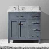 Caroline Parkway 36'' Single Bathroom Vanity Set with Right Side Drawers in Grey, Italian Carrara White Marble Top with Square Sink