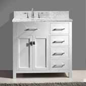 Caroline Parkway 36'' Single Bathroom Vanity Set with Right Side Drawers in White, Italian Carrara White Marble Top with Square Sink