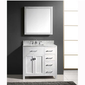 Caroline Parkway 36'' Single Bathroom Vanity Set with Right Side Drawers in White, Italian Carrara White Marble Top with Square Sink, Brushed Nickel Faucet, Mirror Included