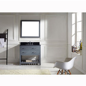 Caroline Estate 36'' Single Bathroom Vanity Set in Grey, Black Galaxy Granite Top with Square Sink, Mirror Included