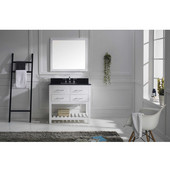 Caroline Estate 36'' Single Bathroom Vanity Set in White, Black Galaxy Granite Top with Square Sink, Mirror Included